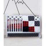 JLIKA Crib Sheets - Red Woodland Collection Four-Piece Crib Bedding Set