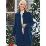 Women's Plus Larry Levine Updated Wool Coat, Windsor Navy Green 1X