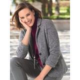 Women's Herringbone Knit Jacket, Black/White 8 Misses