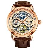 Stührling Original Mens Rose Gold Plated Automatic Watch, Gold Skeleton Analog Watch Dial, Dual Time, AM/PM Sun Moon, Brown Leather Band, 3924 Skeleton Watches for Men Collection