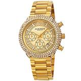 Akribos XXIV Men's Multifunction Chronograph Watch – Encrusted with Beautiful Sparkling Crystals - Stainless Steel Link Bracelet - AK1075 (Sparkling Yellow Gold)