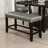 Modern Silver Faux Leather Counter Height Dining Bench with Solid Rubber Wood Frame and Tufted Seat