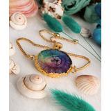 Handmade Art Women's Bracelets Mix - Purple Agate & 14k Gold-Plated Adjustable Bracelet