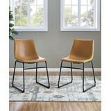 Walker Edison Dining Chairs Whiskey - Whiskey Brown Side Chair Set