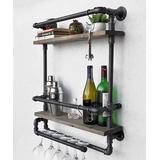 Wallity Shelves Walnut Black - Black Walnut Pipe-Accent Glass-Rack Shelf