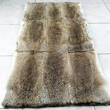 "100% Real Rabbit Fur Blanket Rug Throw Spread Rug Skin Plate Collar Carpet Real Fur,Straw Yellow, 22 ""X 44"""