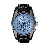 Fossil Men's Coachman Quartz Leather Chronograph Watch, Color: Silver, Black (Model: CH2564)