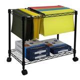 Wegi King Mobile File Cart Wire Metal Rolling Letter Legal 1-Tier File Carts Compact Swivel File Storage Organizer Shelf - Black
