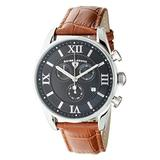 Swiss Legend Men's Belleza Analog Swiss Quartz Watch Black Dial and Silver Stainless Steel Case with Brown Leather Strap 22011-01-BR