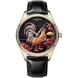Swiss Watch Mens Automatic-Self-Wind Animal Cock Analog Display Rose Gold Stainless Steel Leather Strap (Black Leather)