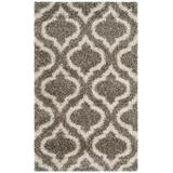 Hudson Shag Collection 4' X 6' Rug in Grey And Ivory - Safavieh SGH284B-4