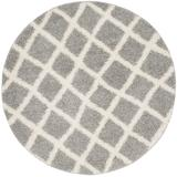 Dallas Shag Collection 6' X 6' Round Rug in Grey And Ivory - Safavieh SGD258G-6R