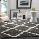"""""""Dallas Shag Collection 5'-1"""""""" X 7'-6"""""""" Rug in Dark Grey And Ivory - Safavieh SGD257A-5"""""""