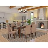 East West Furniture Kitchen Set 7 Pieces - Brown Linen Fabric Parsons Dining Room Chairs - Mahogany Finish 4 legs Hardwood Rectangular Dining Room Table and Structure