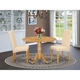 East West Furniture Round Set 3 Pieces-Beige Linen Fabric Padded Parson Chairs-Oak Finish Solid wood two 9-inch drop leaves Pedestal Dining Table and Structure, 5