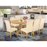 9Pc Oval Dining Room table with linen beige fabric Parson chairs with oak chair legs