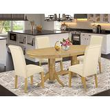 5Pc Oval Kitchen table with linen beige fabric dining chairs with oak chair legs