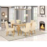 East West Furniture Kitchen Set 7 Pc - Beige Linen Fabric Upholstered Dining Chairs - Oak Finish 4 legs Hardwood Rectangular Wood Table and Structure