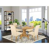 East West Furniture Nook Kitchen Table Set 5 Pieces - Beige Linen Fabric Upholstered Dining Chairs - Oak Finish Hardwood Pedestal Butterfly Leaf Mid-century Dining Table and Frame