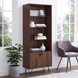 Walker Edison Mid-Century Modern Tall Accent Cabinet Shelves Living Kitchen Dining Room Storage, 4 Shelf, Dark Walnut