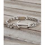Steel Evolution Men's Bracelets Silver-Tone - Stainless Steel Anchor Station Bracelet