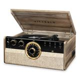 Victrola 6-in-1 Wood Empire Mid-Century Modern Bluetooth Record Player, CD, Cassette Player & Radio, Brown