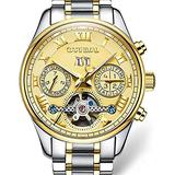 Swiss Brands Mens Automatic Self Wind Watch Skeleton with Gold Ion-Plated Stainless Steel Two-Tone Watch (Two-Tone Gold Dial)