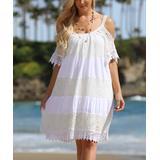 Ananda's Collection Women's Casual Dresses White - White Stripe Lace Shoulder Cutout Dress - Women