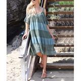 Ananda's Collection Women's Casual Dresses Sage - Sage Stripe Lace Shoulder Cutout Dress - Women