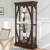 """Charlton Home® Tiano Solid Freestanding Lighted Curio Cabinet, Wood in Brown, Size 80""""H X 43""""W X 15""""D 