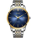 Business Men's Watch Automatic-Self-Wind Ultra-Thin Dial Date with Waterproof Two-Tone Watch (Blue dial)