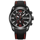 RORIOS Fashion Men Watch Silicone Strap Sport Watch Calendar Luminous Stopwatch Lap Timer Multifunction Wrist Watch