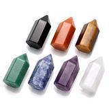 Jovivi 7pcs Healing Crystals Wand Set, Crystal Quartz Crystal Points Hexagonal Wand 6 Faceted Reiki Chakra Meditation Therapy Healing Energy