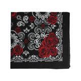 ZAD Women's Accent Scarves - Black & Red Floral Cotton Bandanna