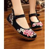 Embroidered Kicks Women's Mary Janes Black - Black Embroidered Rose Vine Knot-Strap Mary Jane - Women