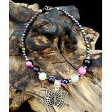 BeSheek Women's Anklets - Pink Calsilica Stone & Silvertone Butterfly Anklet