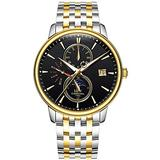 Luxury Men's Watches Automatic-Self-Wind Luminous Calendar Moon Phase Stainless Steel Two-Tone Watch (Two-Tone Black dial)