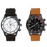 Men's Military Japan Quartz Waterproof Calendar Black Dial Casual Dress Leather Wrist Watch with Decorative 3 Sub-Dials - 2 Pack
