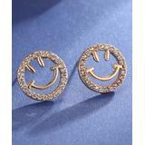 Streetregion Women's Earrings White - Cubic Zirconia & Goldtone Smiley Face Stud Earrings