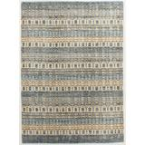 World Menagerie Cadiz Striped Hand-Loomed Sky Blue/Beige Area RugViscose/Wool/Cotton in White, Size 72.0 H x 48.0 W x 0.5 D in   Wayfair