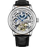 Stührling Original Mens Skeleton Watch Silver Analog Watch Dial Mens Automatic Watch - Dual Time, AM/PM Sun Moon, Genuine Leather Band, 3917 Mens Watches Collection