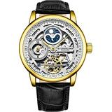 Stührling Original Skeletonized Gold Watches for Men Analog Watch Dial Mens Automatic Watch - Dual Time, AM/PM Sun Moon, Genuine Leather Band, 3917 Mens Watches Collection