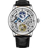 Stührling Original Mens Skeleton Watch Silver Analog Watch Dial Mens Automatic Watch - Dual Time, AM/PM Sun Moon, Genuine Leather Band, 3926 Mens Watches Collection