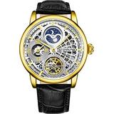 Stührling Original Skeletonized Gold Watches for Men Analog Watch Dial Mens Automatic Watch - Dual Time, AM/PM Sun Moon, Genuine Leather Band, 3926 Mens Watches Collection
