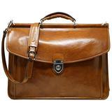 Floto Firenze Dowell Italian Leather Briefcase Messenger Bag Men's Business Bag (Olive Honey Brown)