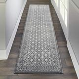 """Nourison Royal Moroccan Distressed Bohemian Charcoal/Silver 2'2"""" x 7'6"""" Area Rug Runner (2'x8'), 2'2""""X7'6"""""""