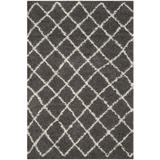 Dallas Shag Collection 6' X 9' Rug in Dark Grey And Ivory - Safavieh SGD258A-6