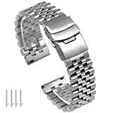 22mm Super 3D Quick Release Engineer Stainless Steel Watch Bands for Men, 5 Rows Taper Metal Watch Strap Bracelet Double Lock Diver's Clasp
