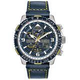 Men's 'promaster Skyhawk A-t' Eco Drive Leather Strap Watch Jy8078-01l - Blue - Citizen Watches