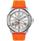 Marine Star Automatic Stainless Steel & Orange Silicone Strap Chronograph Watch - Orange - Bulova Watches
